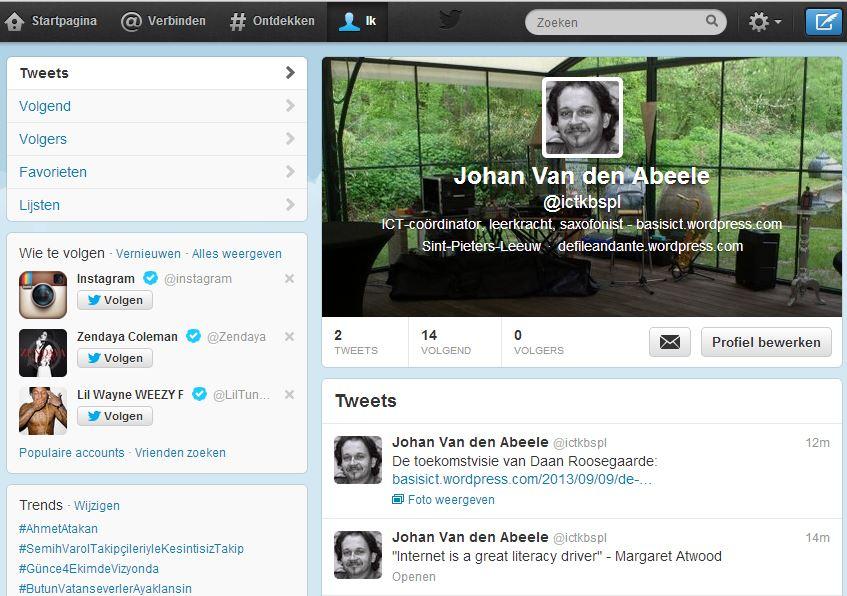 Twitteraccount Johan Van den Abeele
